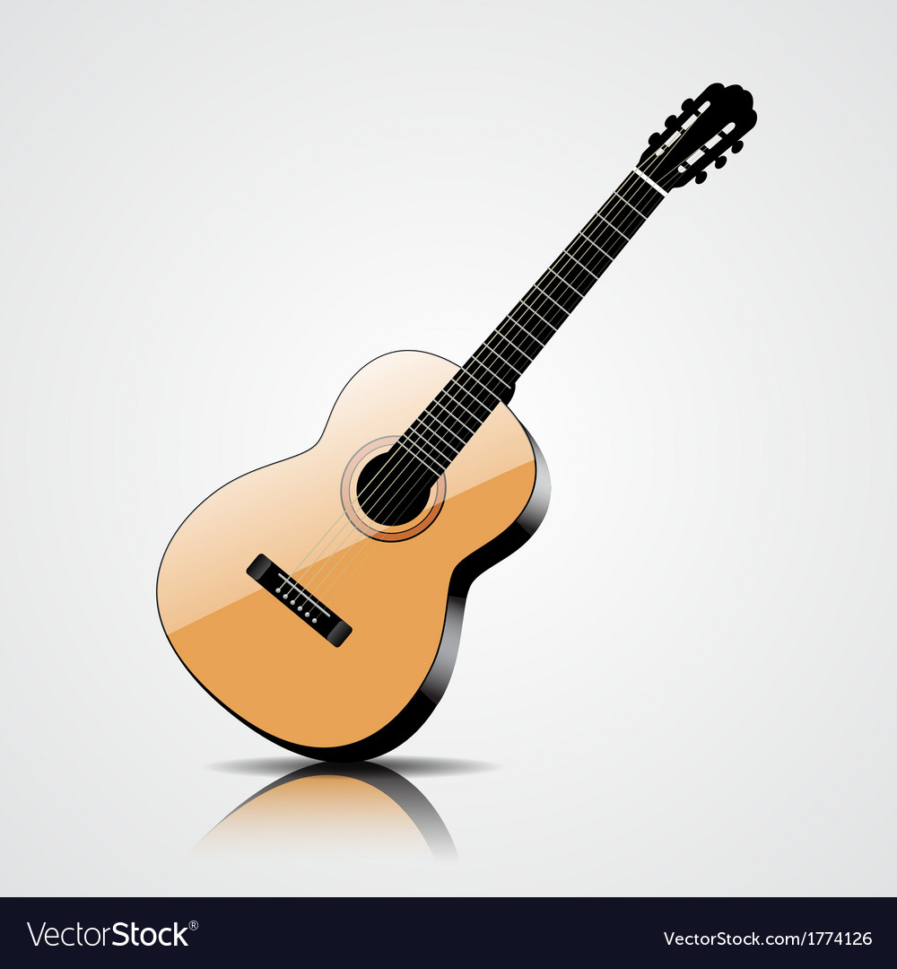 Classic guitar isolated on white background vector | Price: 1 Credit (USD $1)