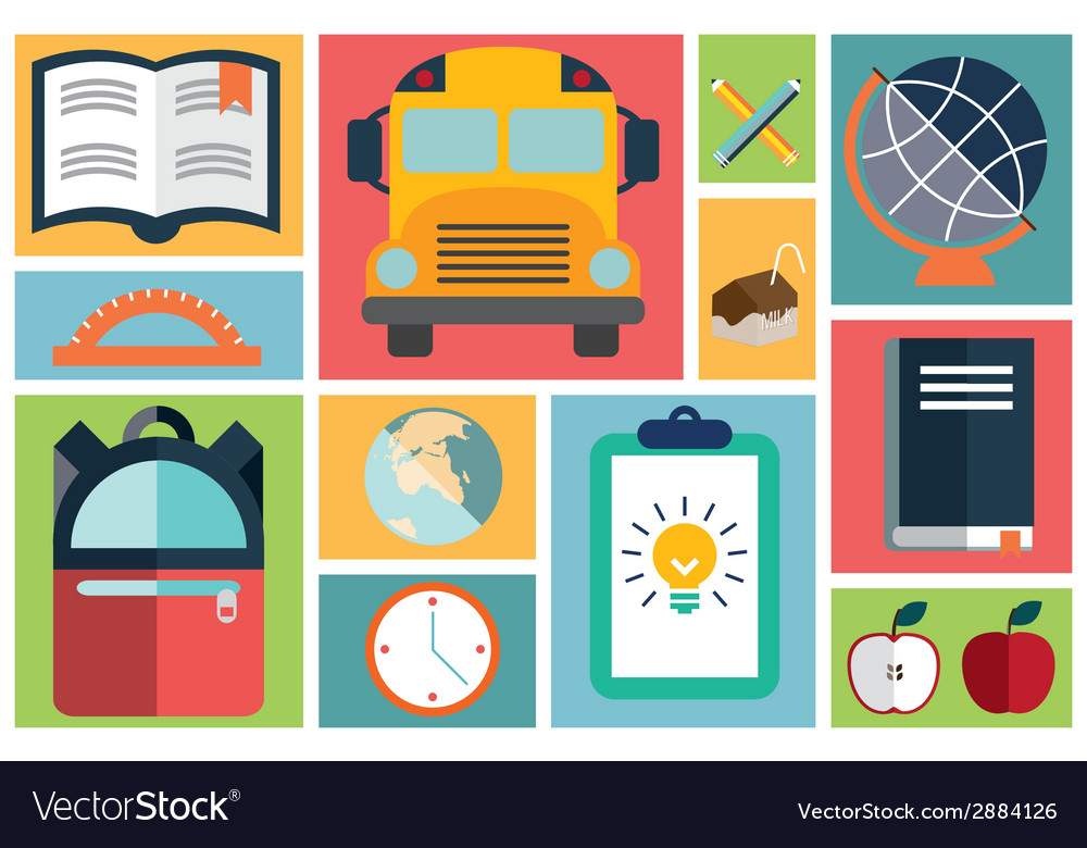 Collection of school items icons flat design long vector | Price: 1 Credit (USD $1)