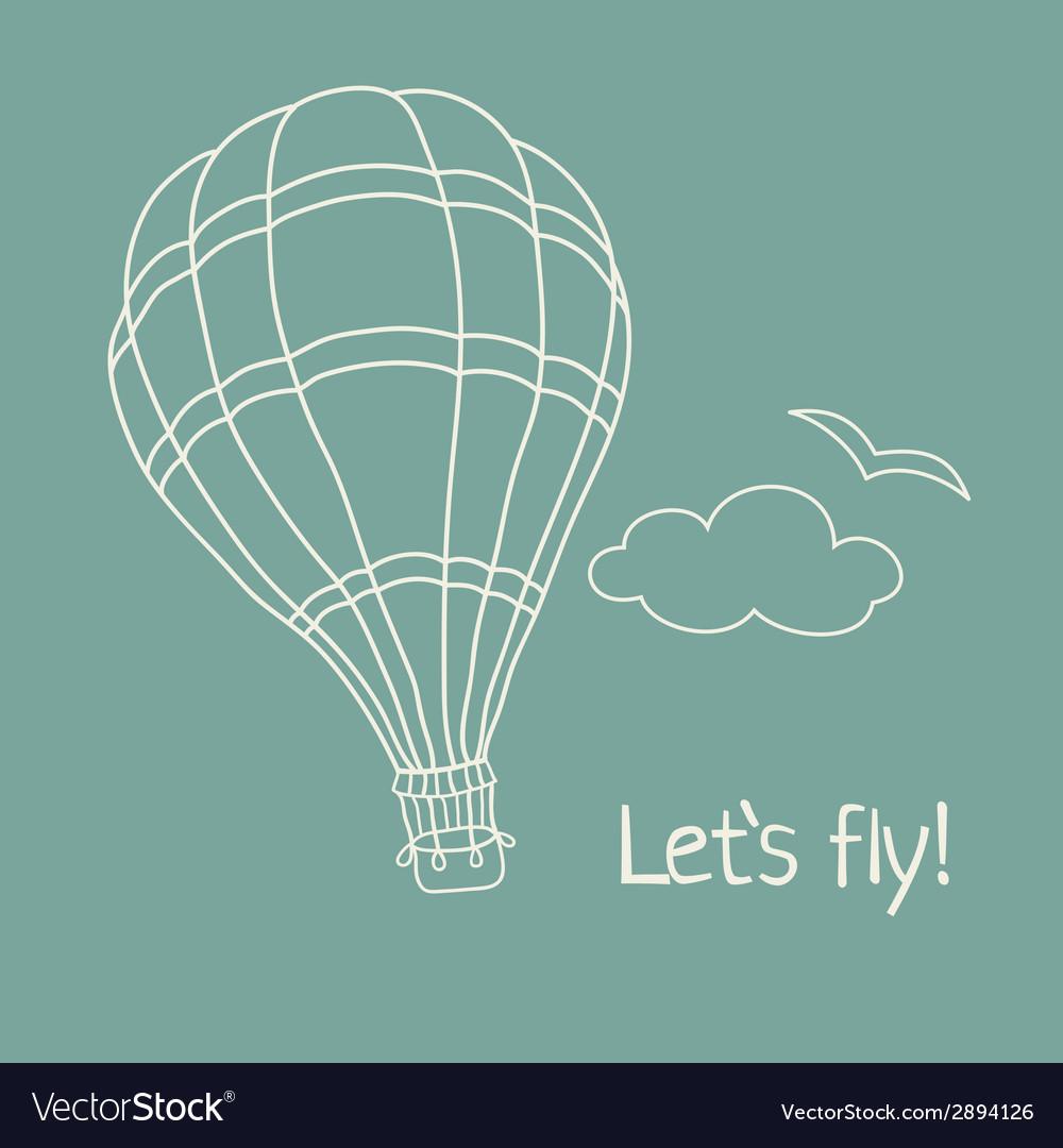 Hand drawn hot air balloon vector | Price: 1 Credit (USD $1)
