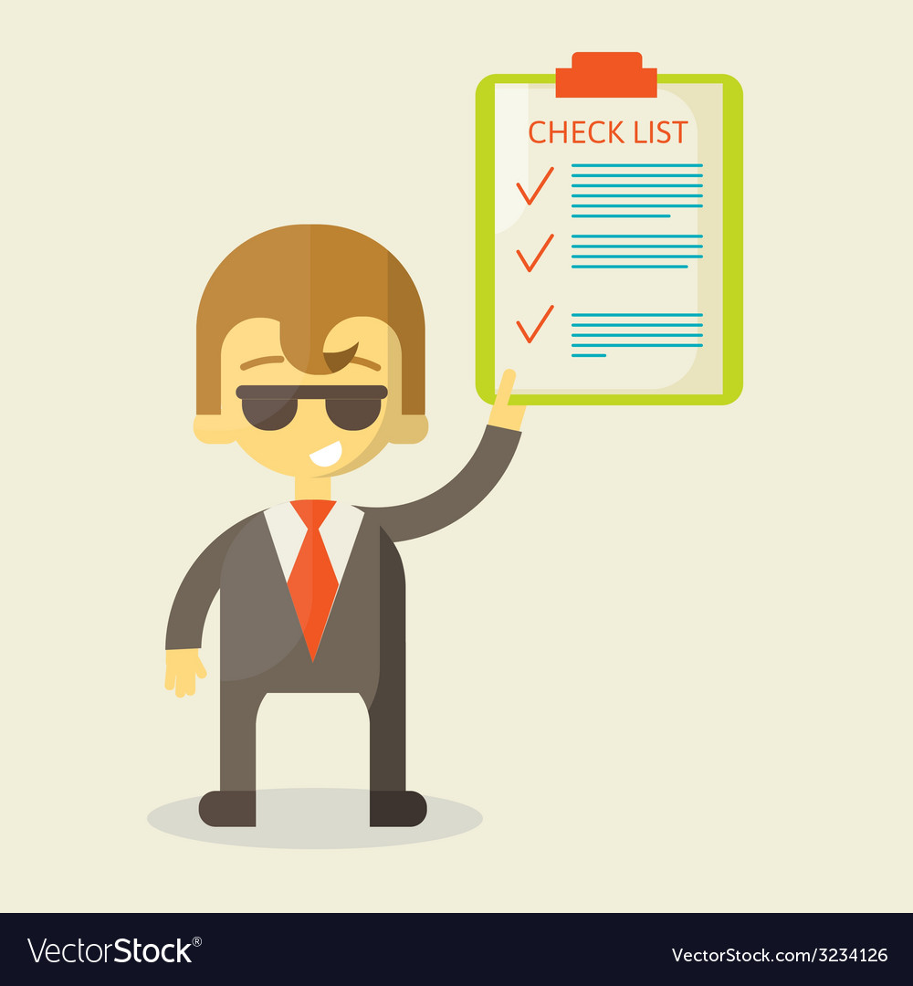 Happy businessman with checklist all items are vector | Price: 1 Credit (USD $1)