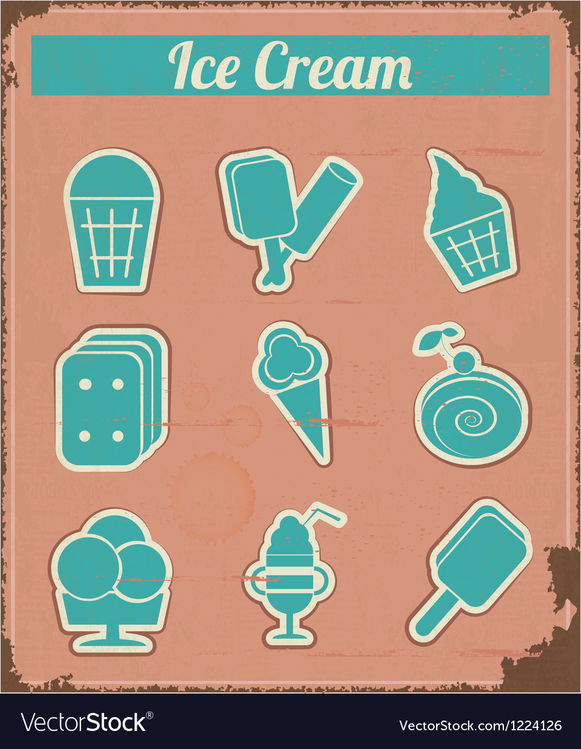 Ice cream - vintage set labels vector | Price: 1 Credit (USD $1)