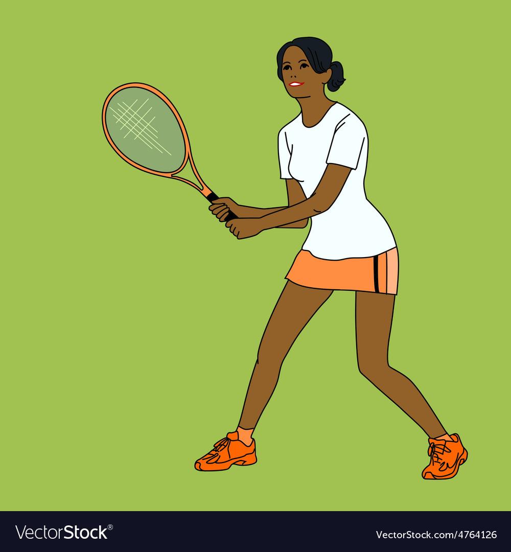 Mulatto girl playing tennis vector   Price: 1 Credit (USD $1)