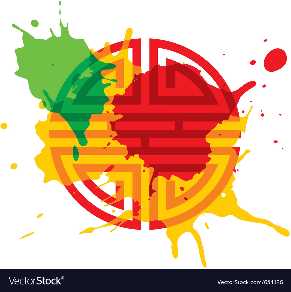 Paint splash oriental design element vector | Price: 1 Credit (USD $1)
