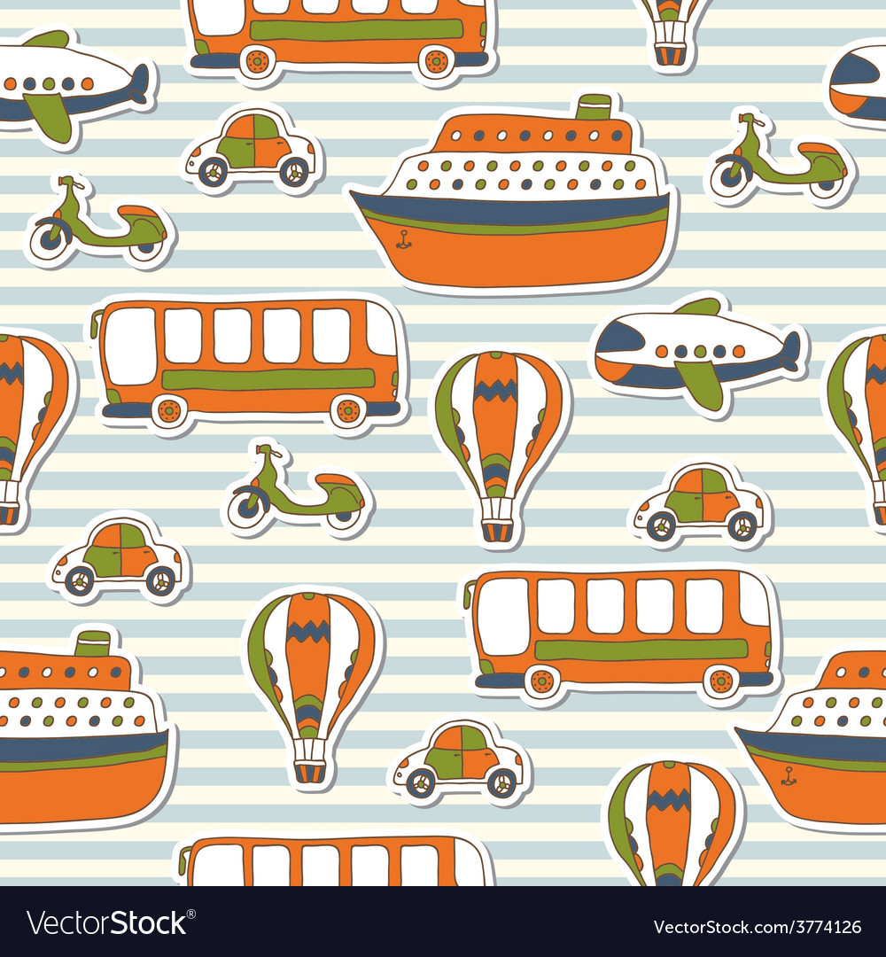 Seamless pattern with colorful transport vector | Price: 1 Credit (USD $1)
