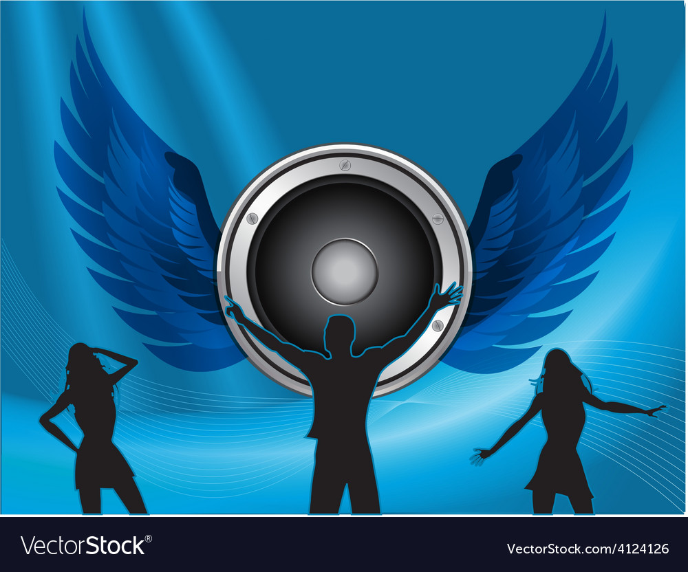 Silhouttes dance on big speaker and wings vector | Price: 1 Credit (USD $1)