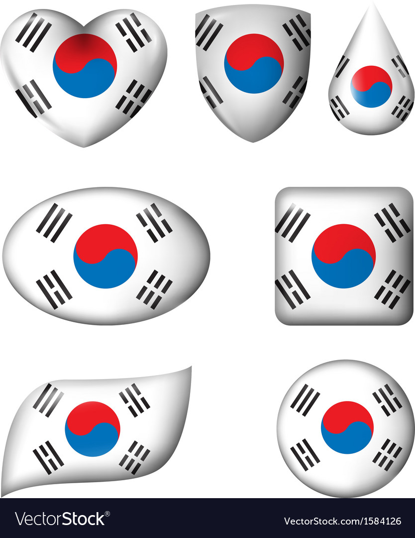 South korean flag in various shape glossy button vector | Price: 1 Credit (USD $1)