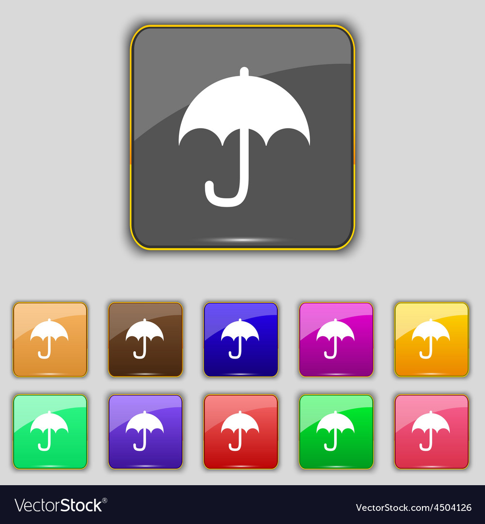 Umbrella icon sign set with eleven colored buttons vector | Price: 1 Credit (USD $1)