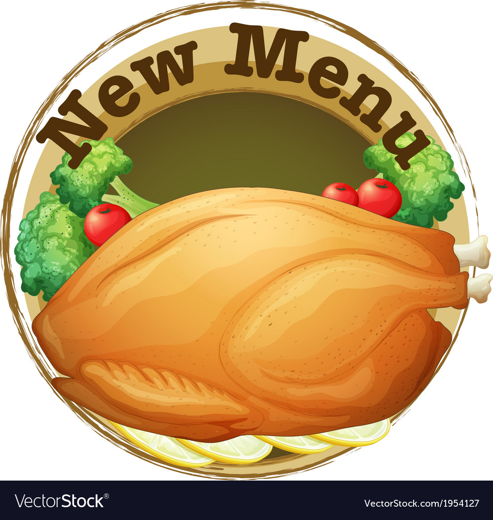 A new menu label with a fried chicken vector | Price: 1 Credit (USD $1)