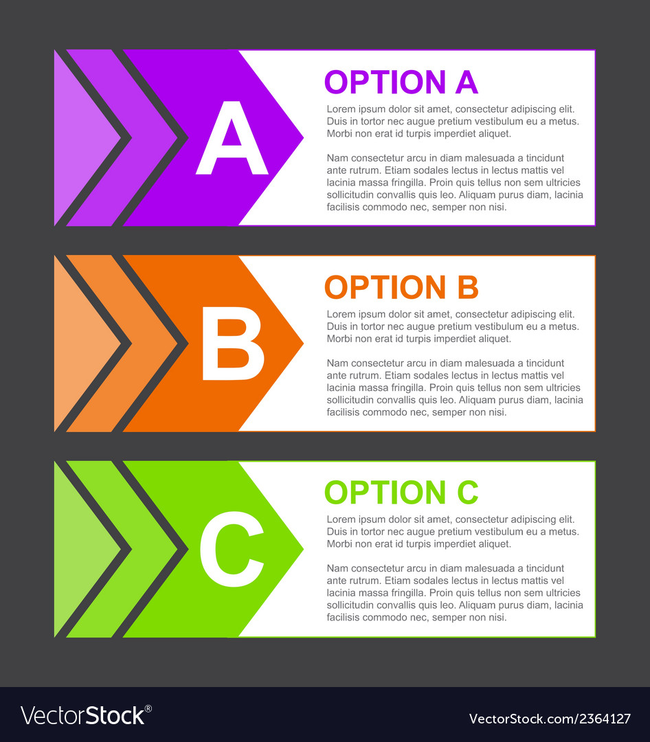 Abc option blocks with short description vector | Price: 1 Credit (USD $1)