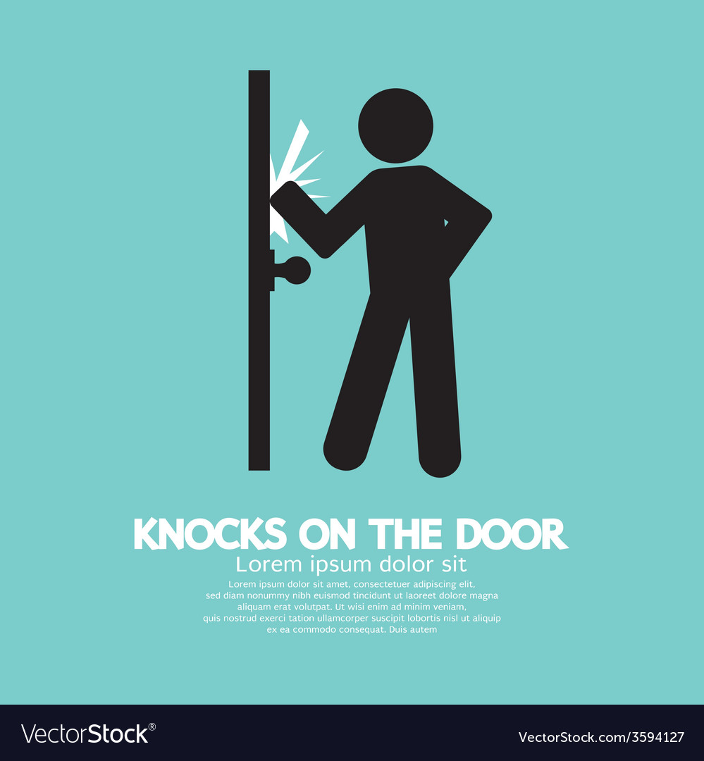 Graphic of single man knocks on the door vector | Price: 1 Credit (USD $1)