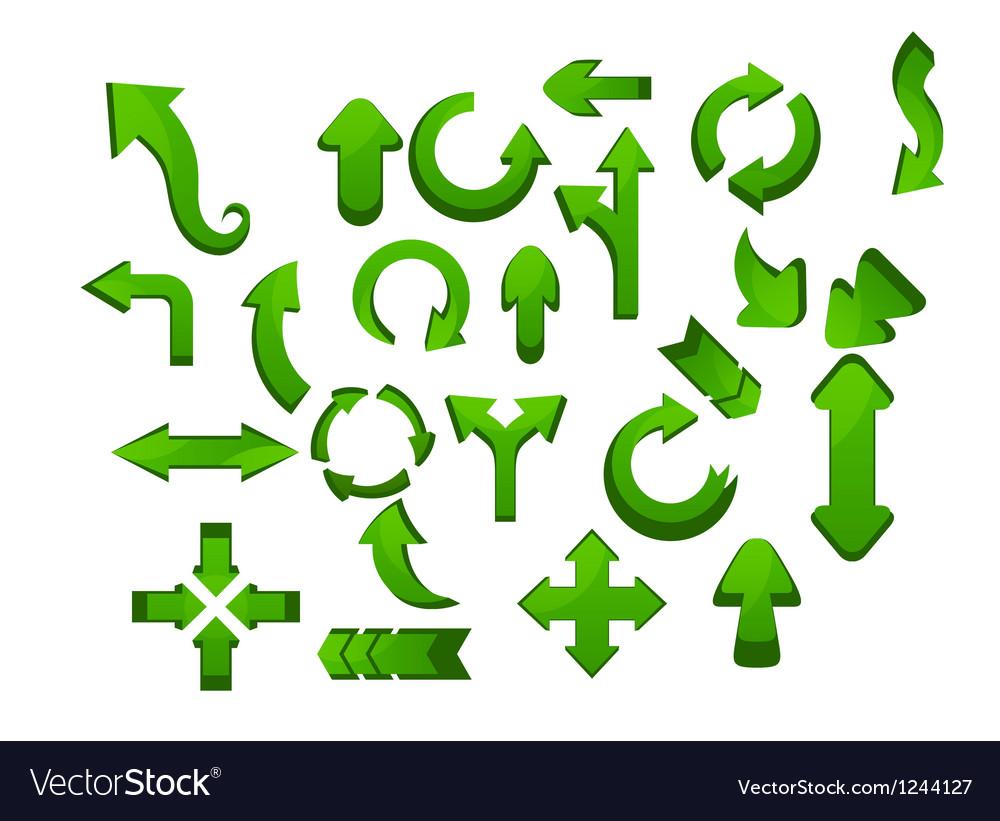 Green arrow icon set vector | Price: 1 Credit (USD $1)