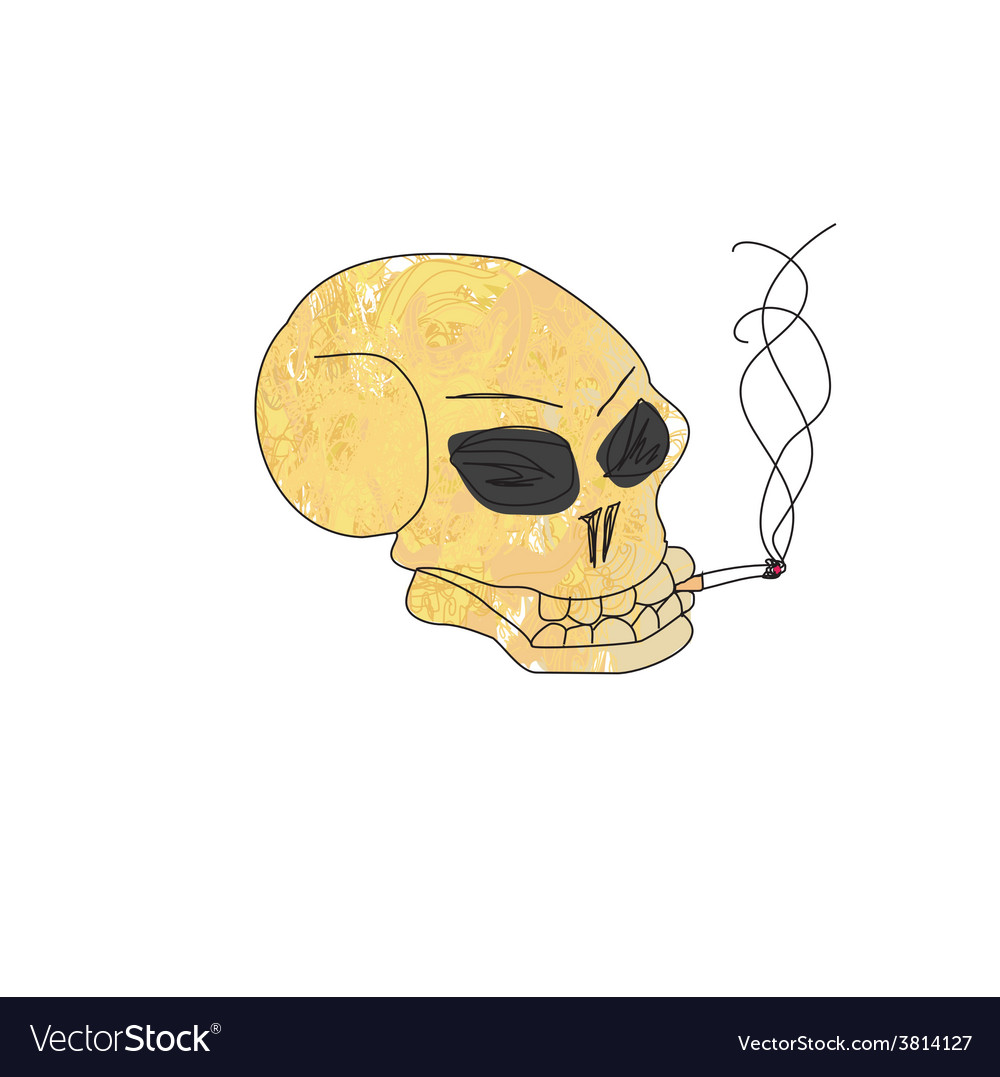 Grunge skull smoke a cigarette vector | Price: 1 Credit (USD $1)