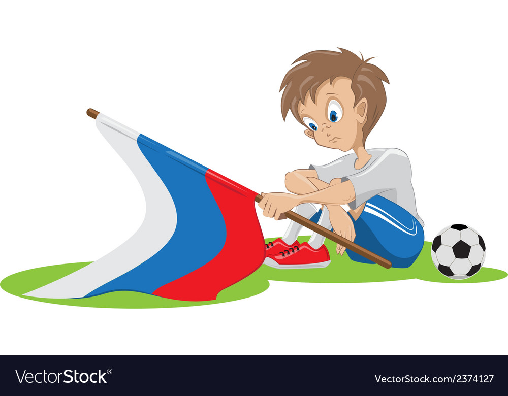 Sad football fan russian flag dropped vector | Price: 1 Credit (USD $1)