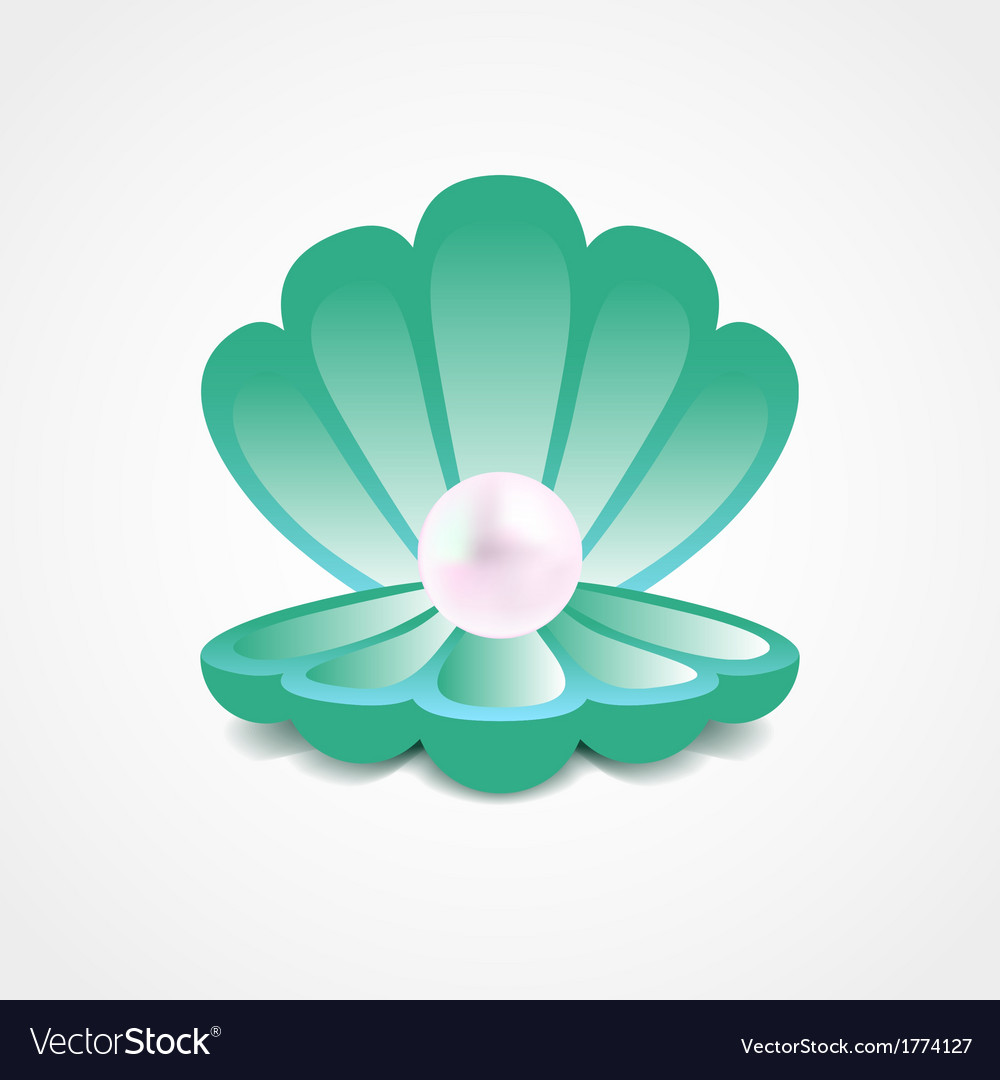 Sea-green shell with a pearl inside vector | Price: 1 Credit (USD $1)