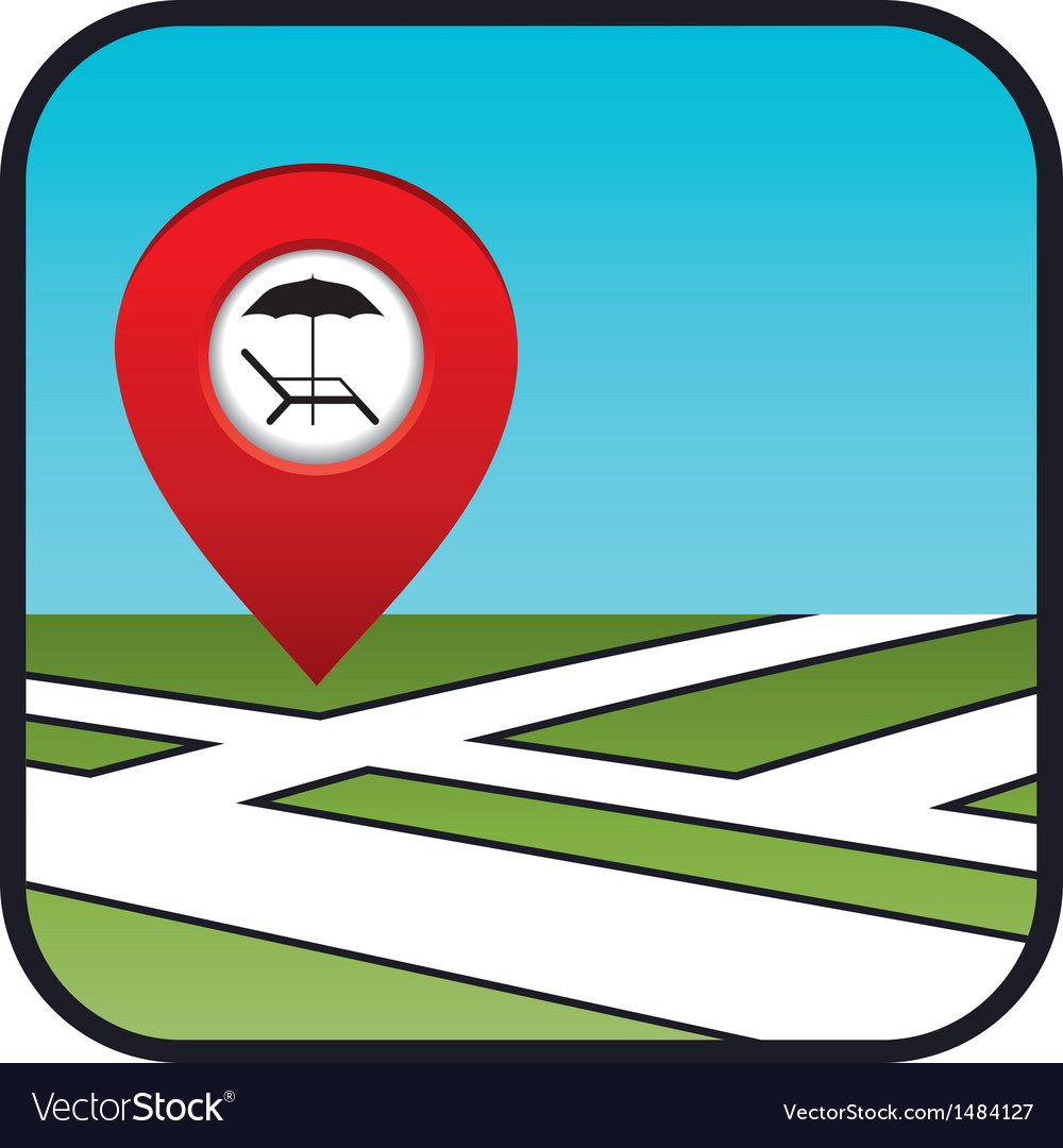 Street map icon with the pointer beach vacation vector | Price: 1 Credit (USD $1)