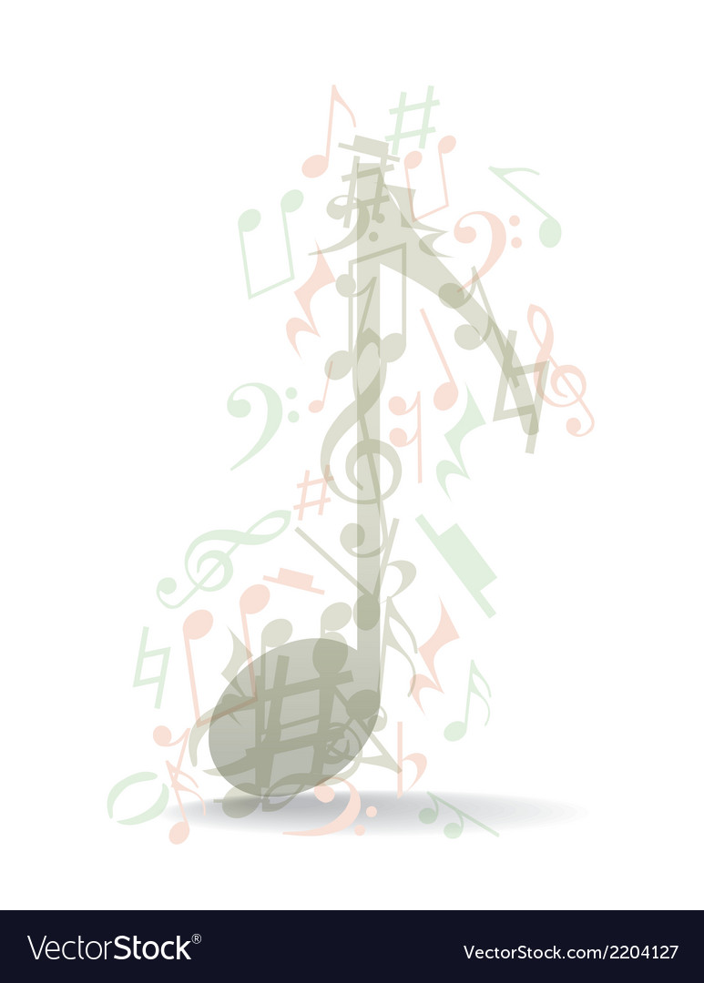 Transparent music note vector | Price: 1 Credit (USD $1)