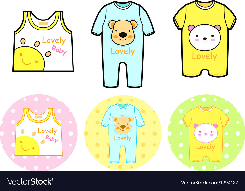 Various styles of rompers and tshirt sets vector | Price: 1 Credit (USD $1)