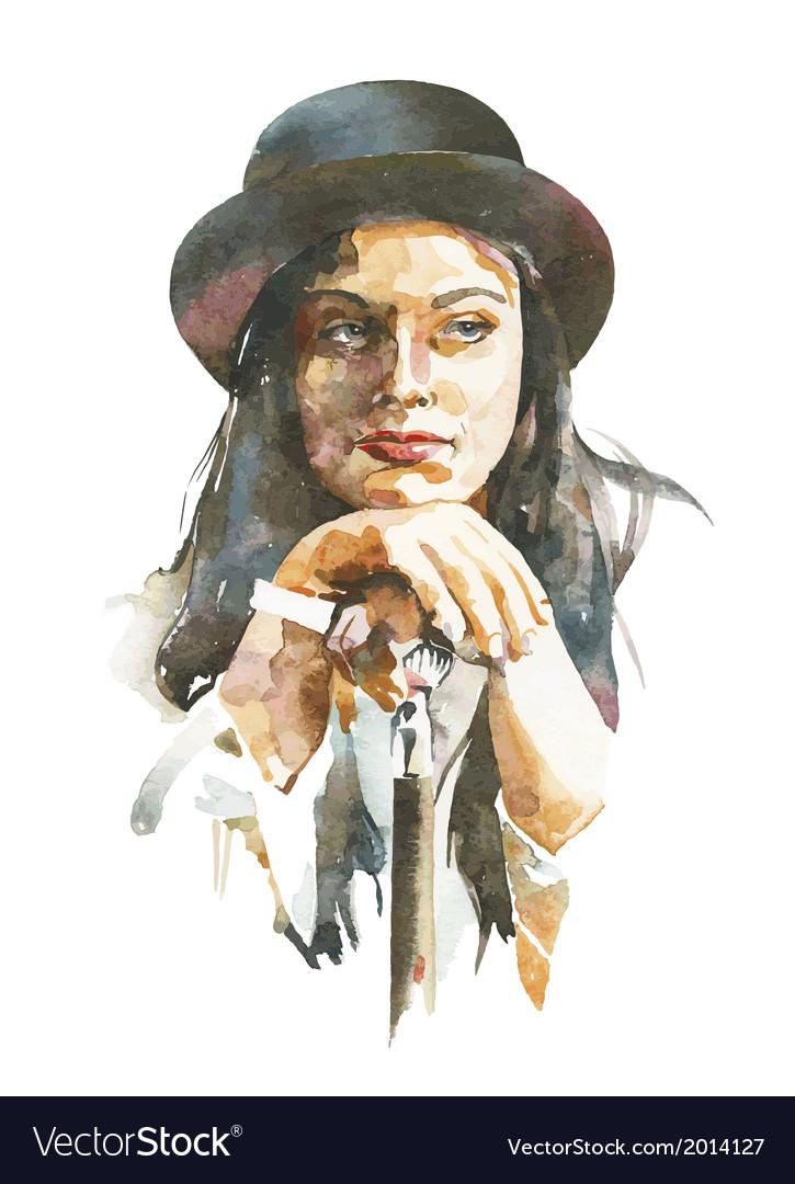 Watercolor portrait of women in a hat vector | Price: 1 Credit (USD $1)