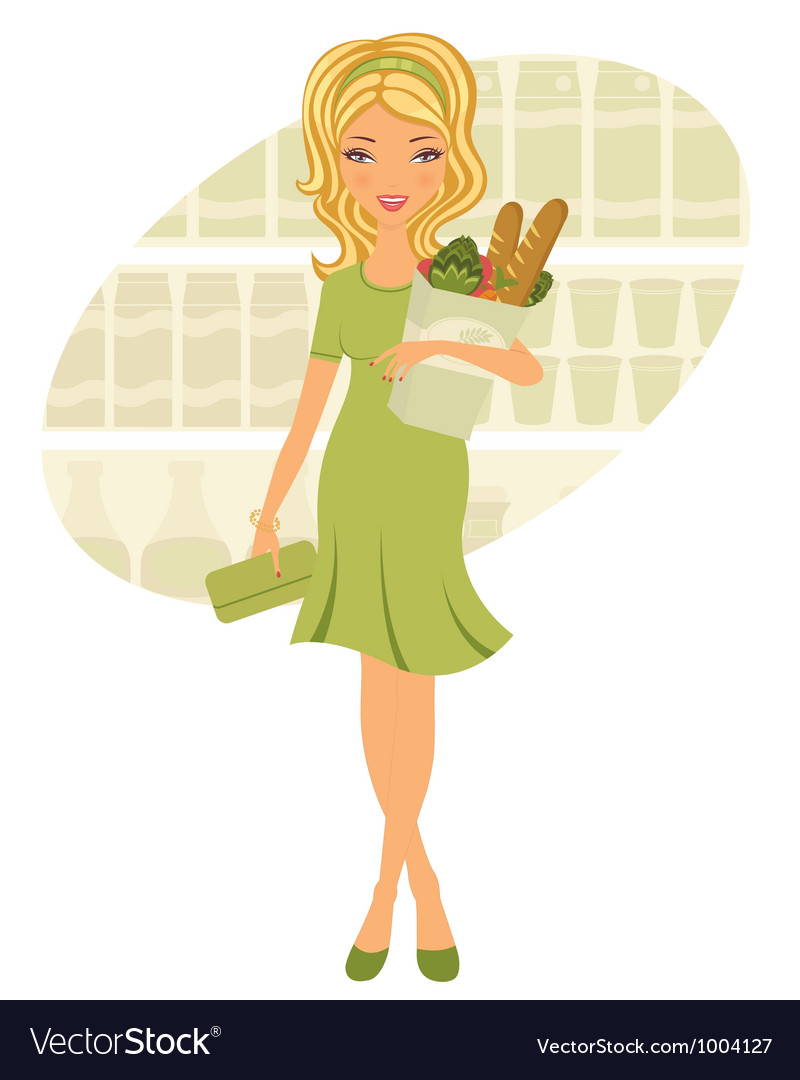 Young woman shopping for grocery vector | Price: 1 Credit (USD $1)