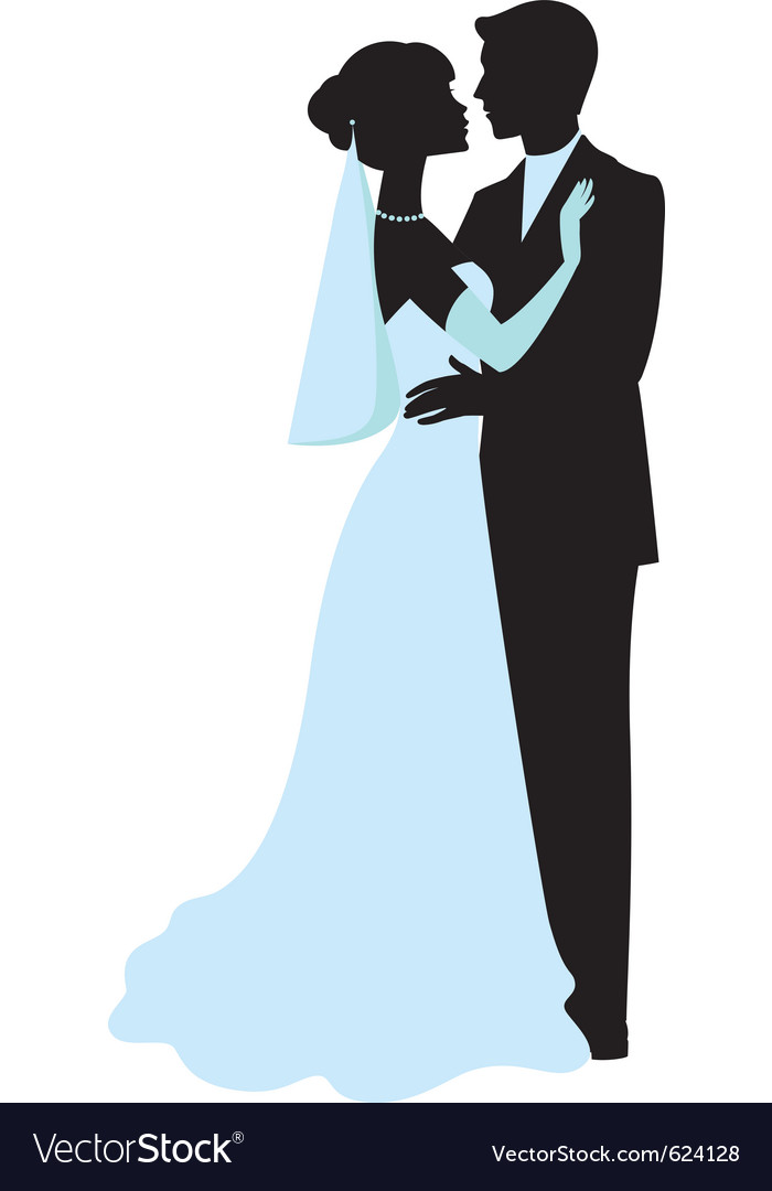 Bride and groom silhouettes vector | Price: 1 Credit (USD $1)