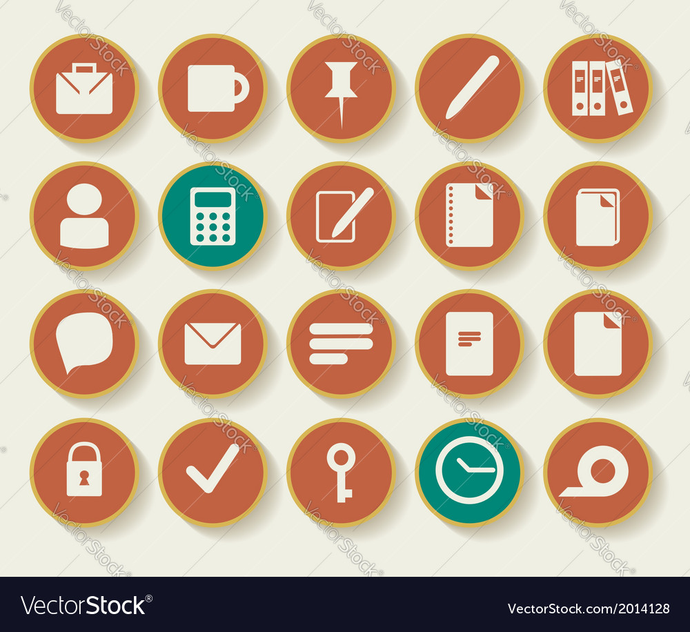 Business and office icons with white background vector | Price: 1 Credit (USD $1)