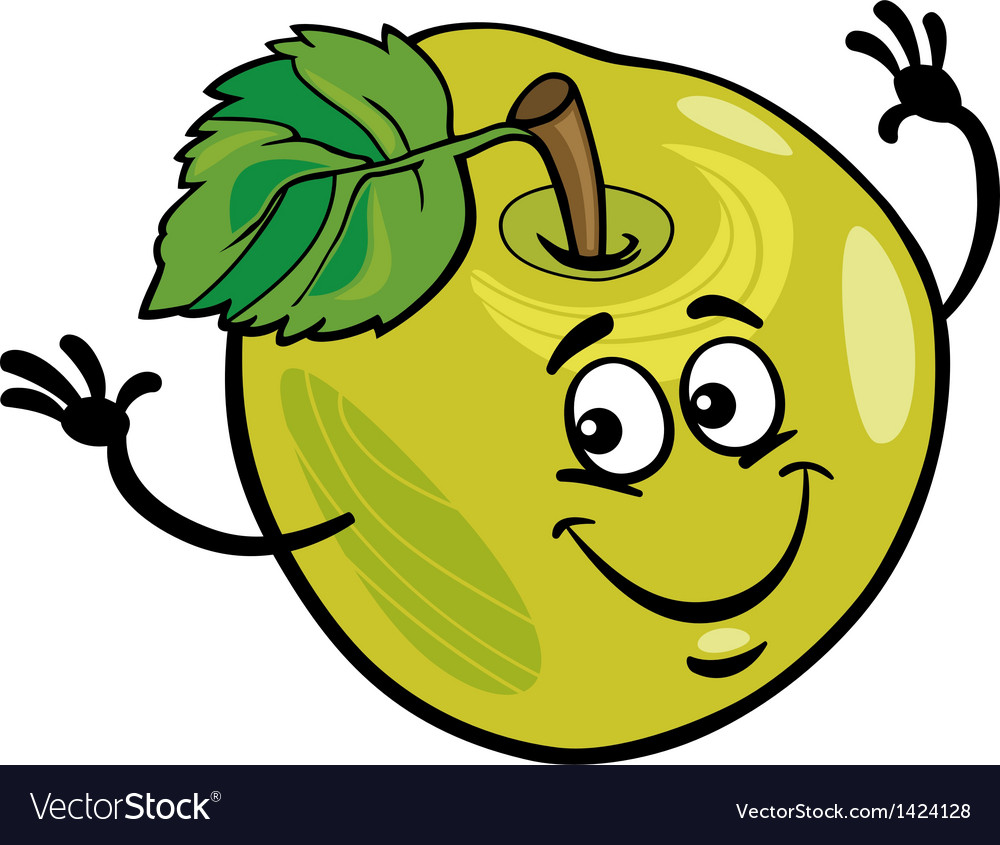 Funny apple fruit cartoon vector | Price: 3 Credit (USD $3)