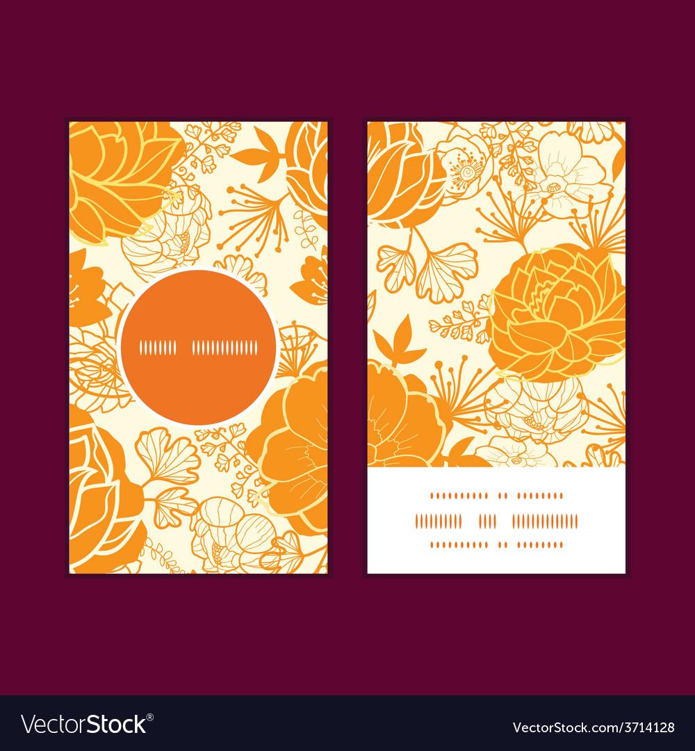 Golden art flowers vertical round frame vector | Price: 1 Credit (USD $1)