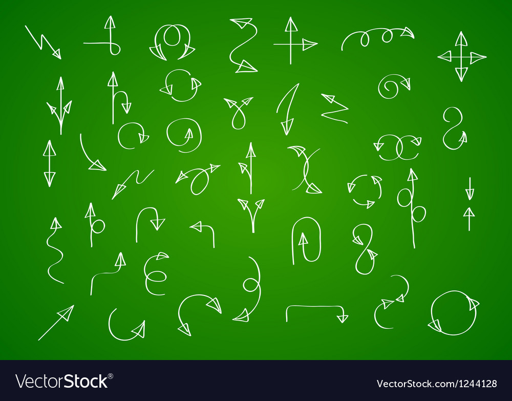 Hand drawn arrow collection on green background vector | Price: 1 Credit (USD $1)