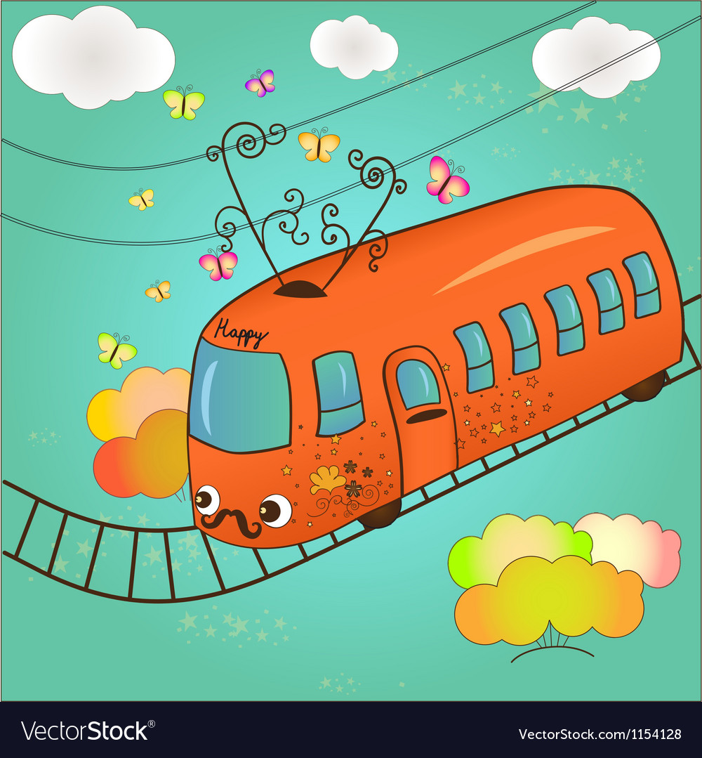 Happy tram vector | Price: 1 Credit (USD $1)