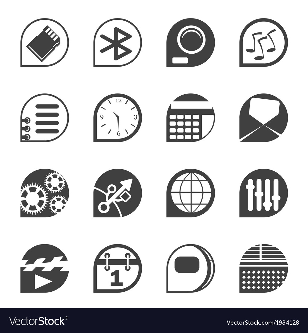 Mobile phone performance and office icons vector | Price: 1 Credit (USD $1)