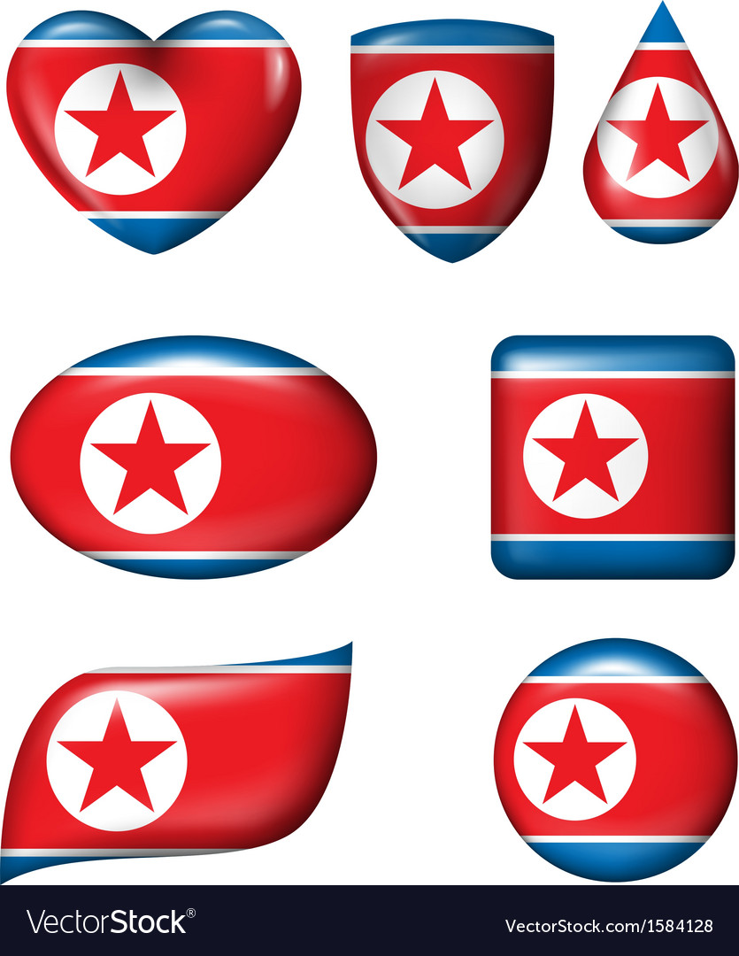 North korean flag in various shape glossy button vector | Price: 1 Credit (USD $1)