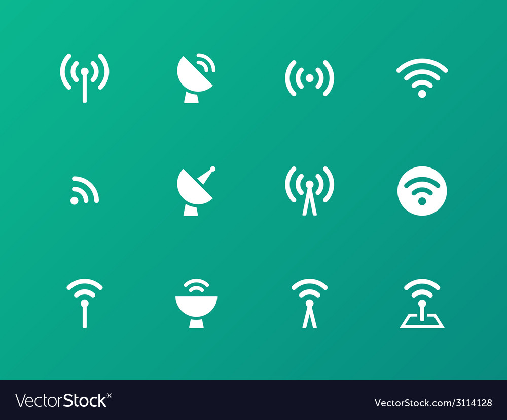 Radio tower icons on green background vector | Price: 1 Credit (USD $1)