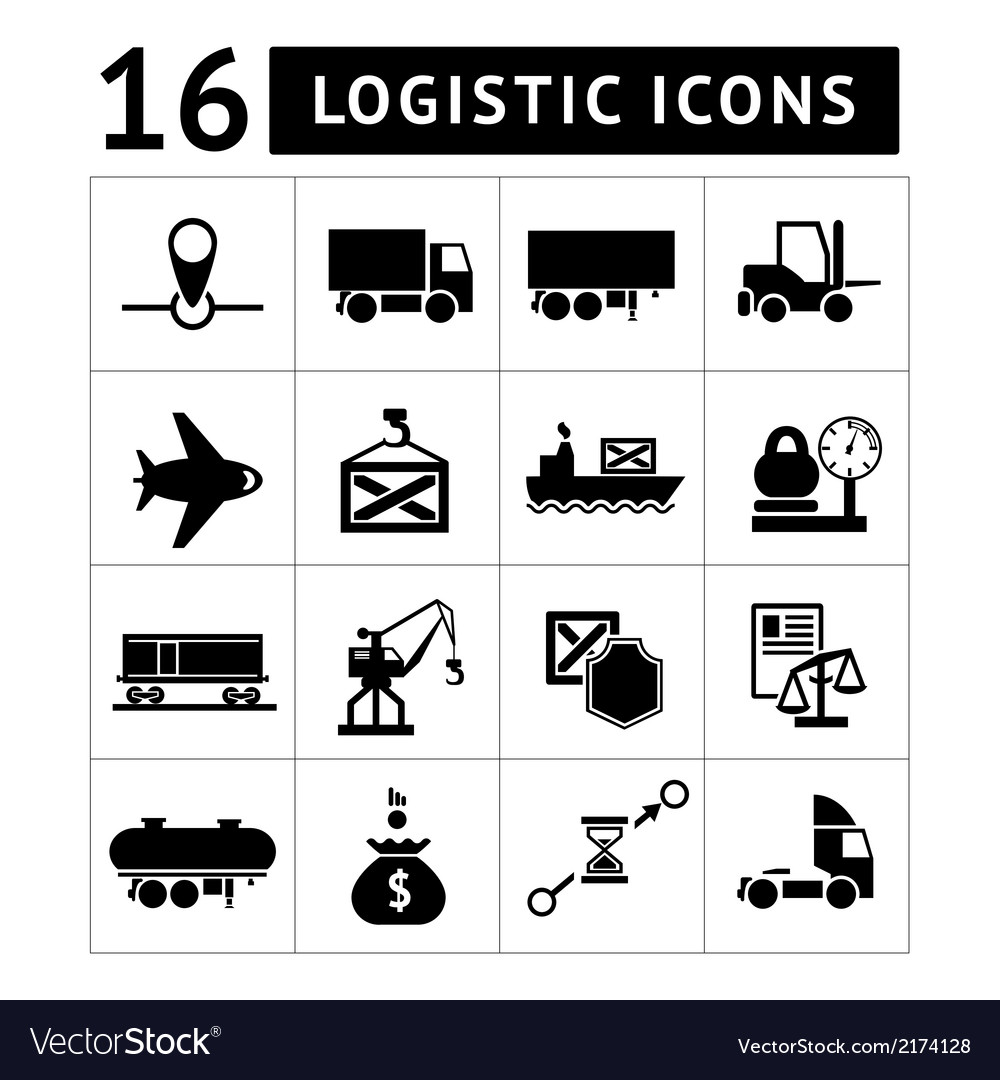Set of black logistic icons vector | Price: 1 Credit (USD $1)
