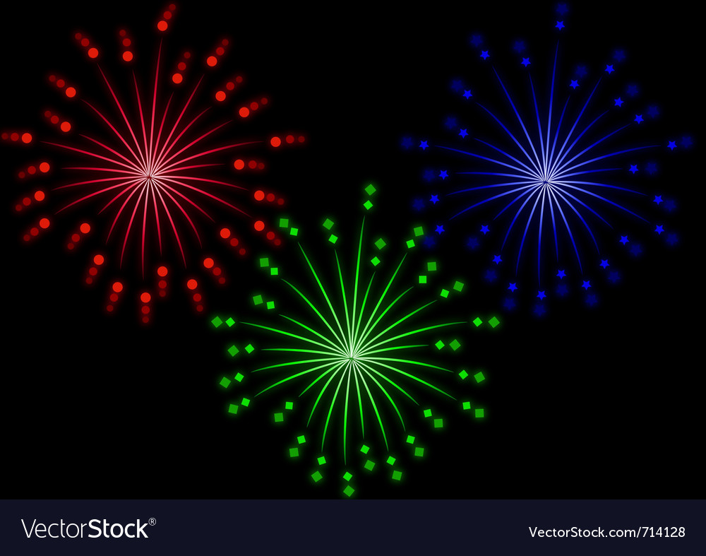 Set of colored fireworks effect vector | Price: 1 Credit (USD $1)