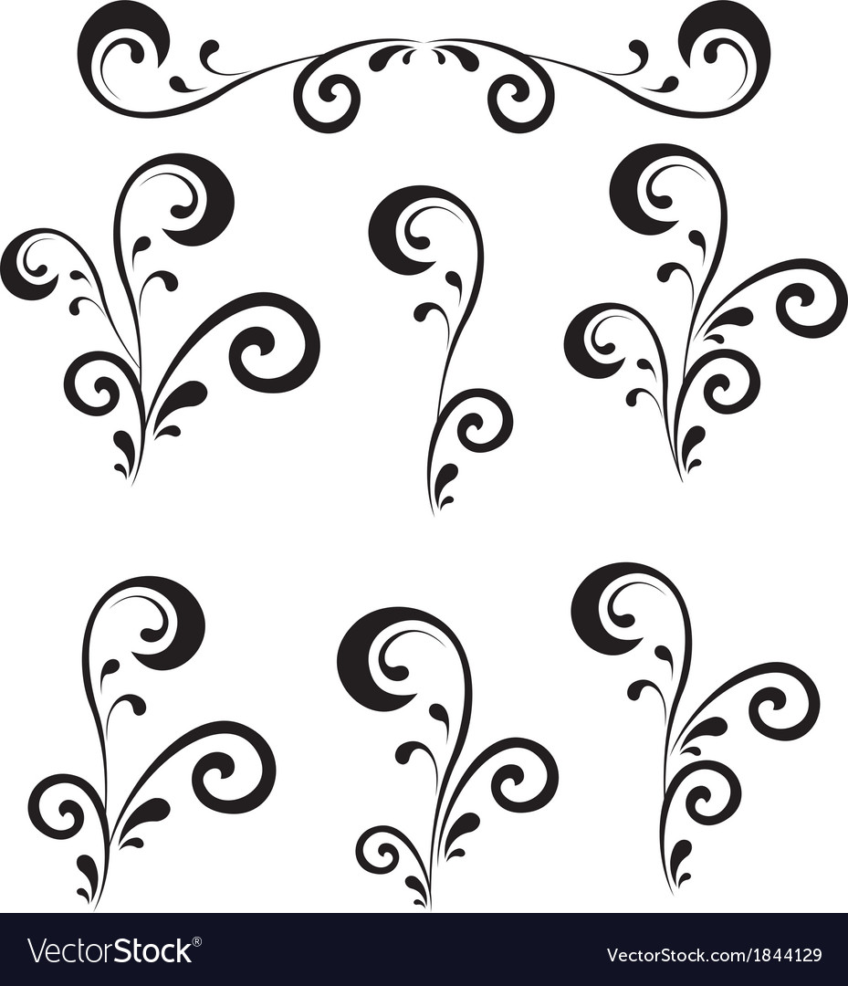 Abstract floral patterns silhouettes vector | Price: 1 Credit (USD $1)