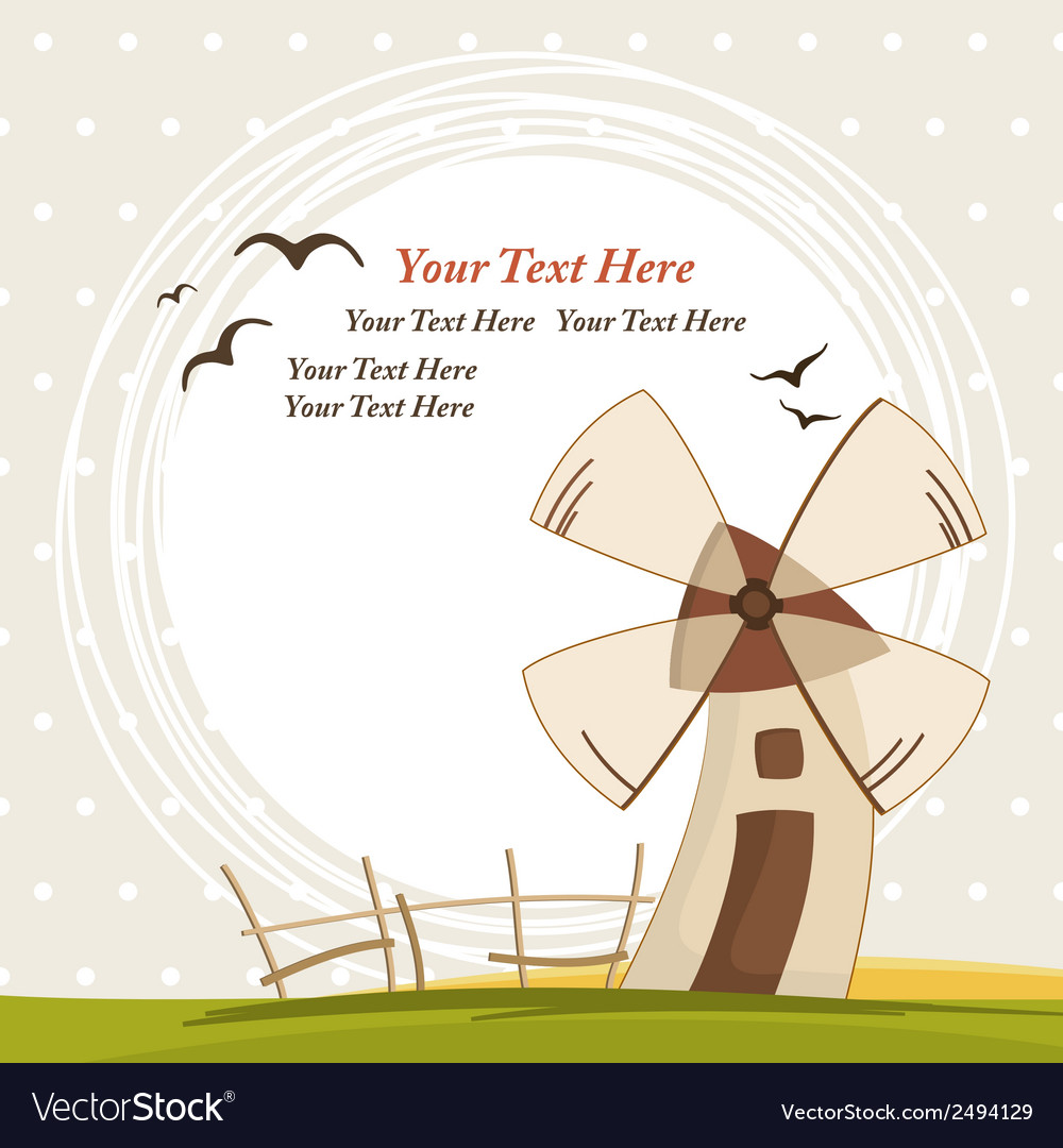 Background with windmill vector | Price: 1 Credit (USD $1)