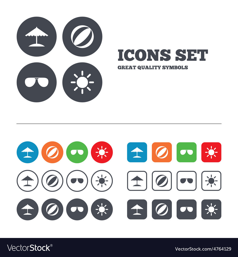 Beach holidays icons umbrella and sunglasses vector | Price: 1 Credit (USD $1)