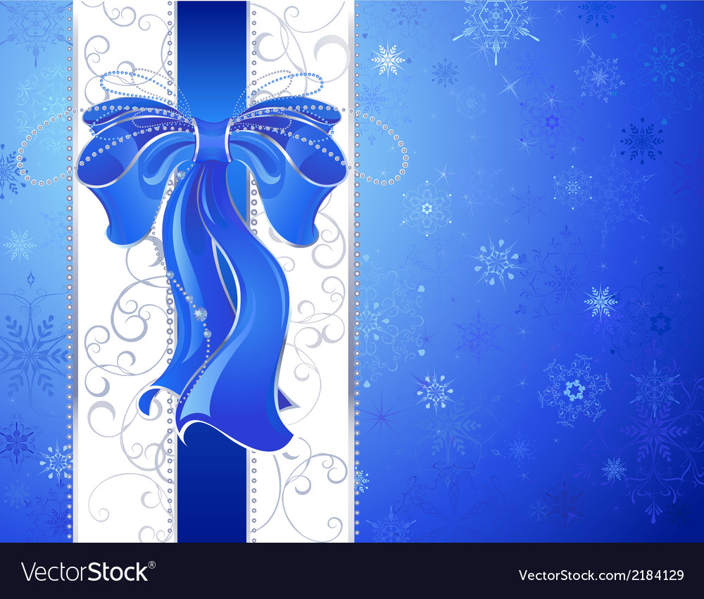 Blue bow on a blue background vector | Price: 1 Credit (USD $1)