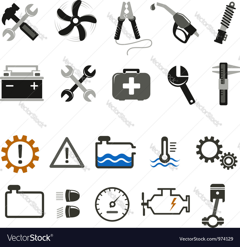 Car mechanic and service icons vector | Price:  Credit (USD $)