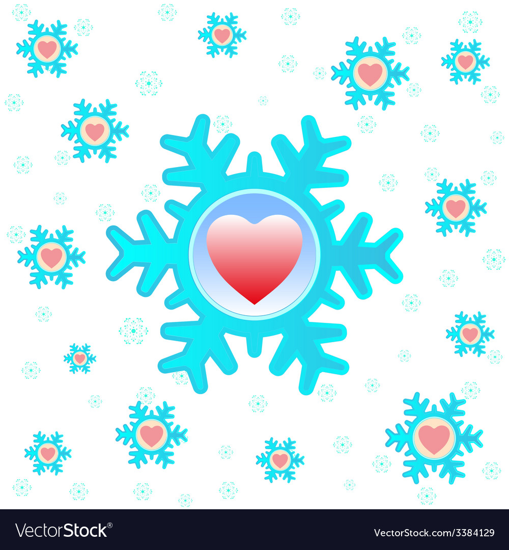 Christmas background with snowflakes and hearts vector | Price: 1 Credit (USD $1)