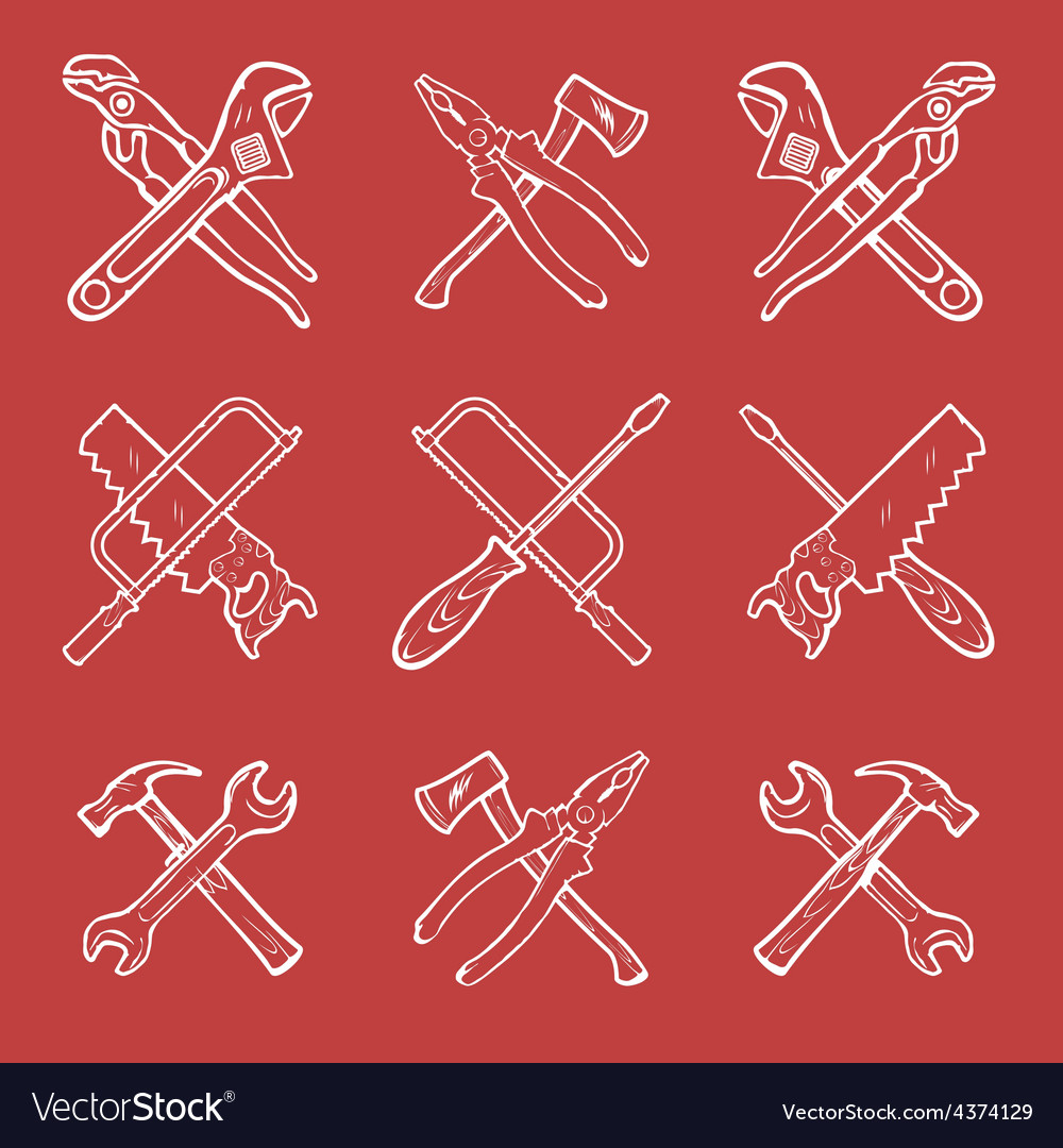 Crossed work tools vector | Price: 1 Credit (USD $1)