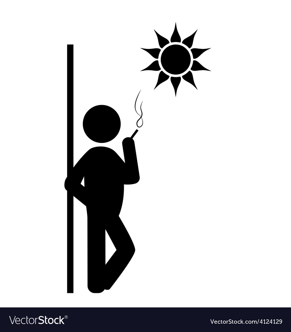Flat spring rest smoking icon isolated on white vector | Price: 1 Credit (USD $1)