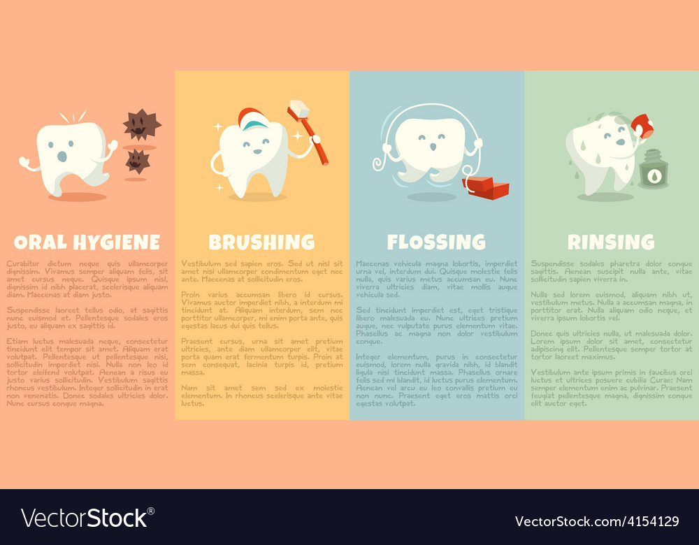 Oral hygiene booklet with cute tooth vector | Price: 1 Credit (USD $1)