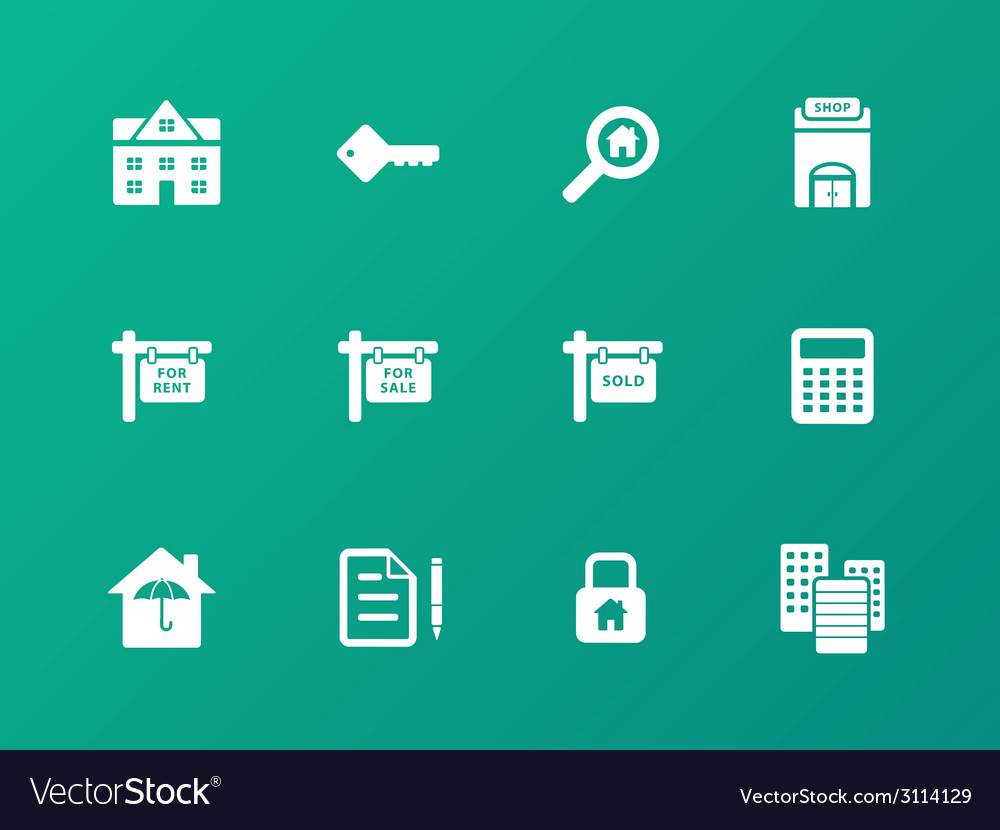 Real estate icons on green background vector | Price: 1 Credit (USD $1)