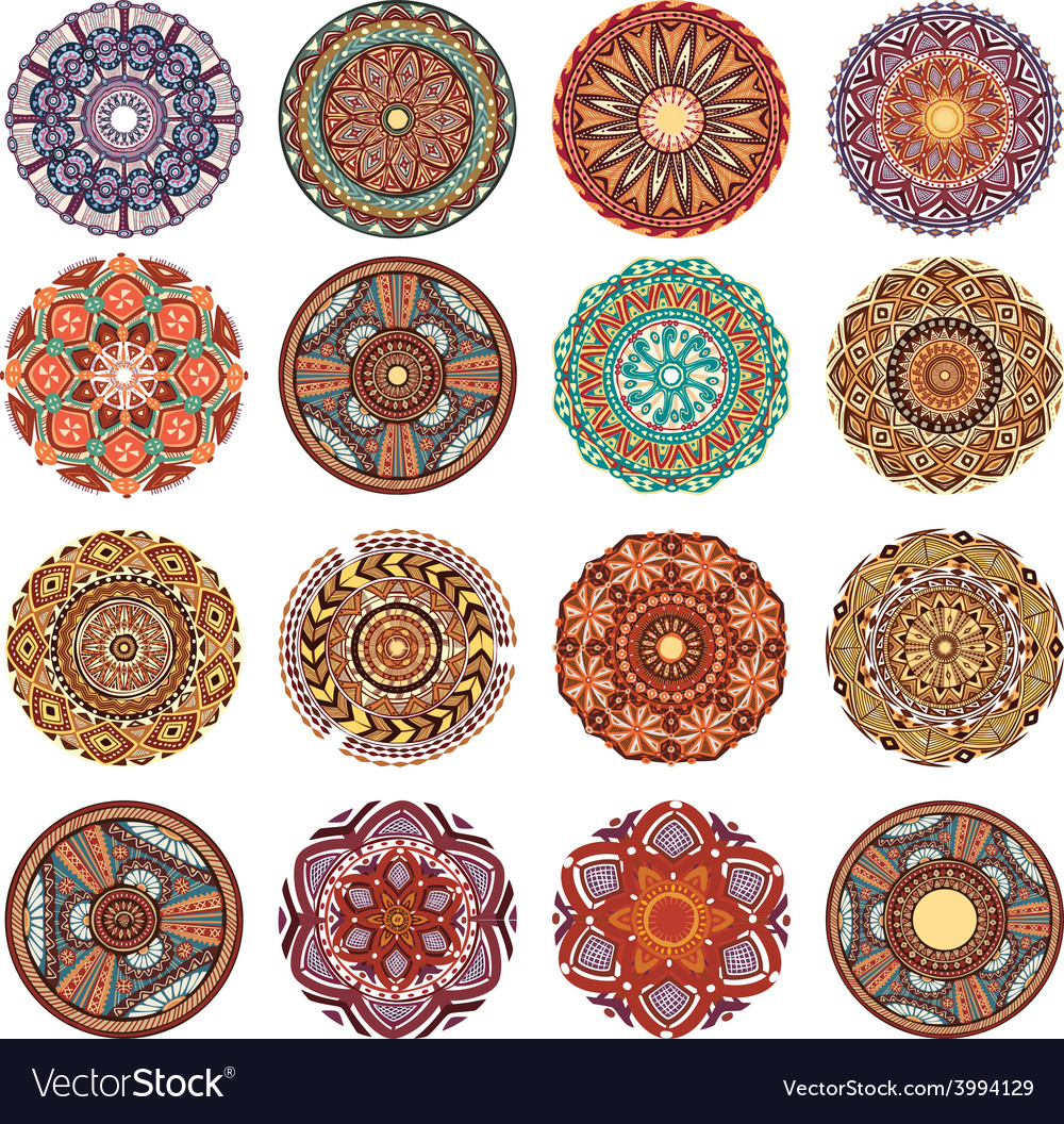 Round ornament pattern collection vector | Price: 1 Credit (USD $1)