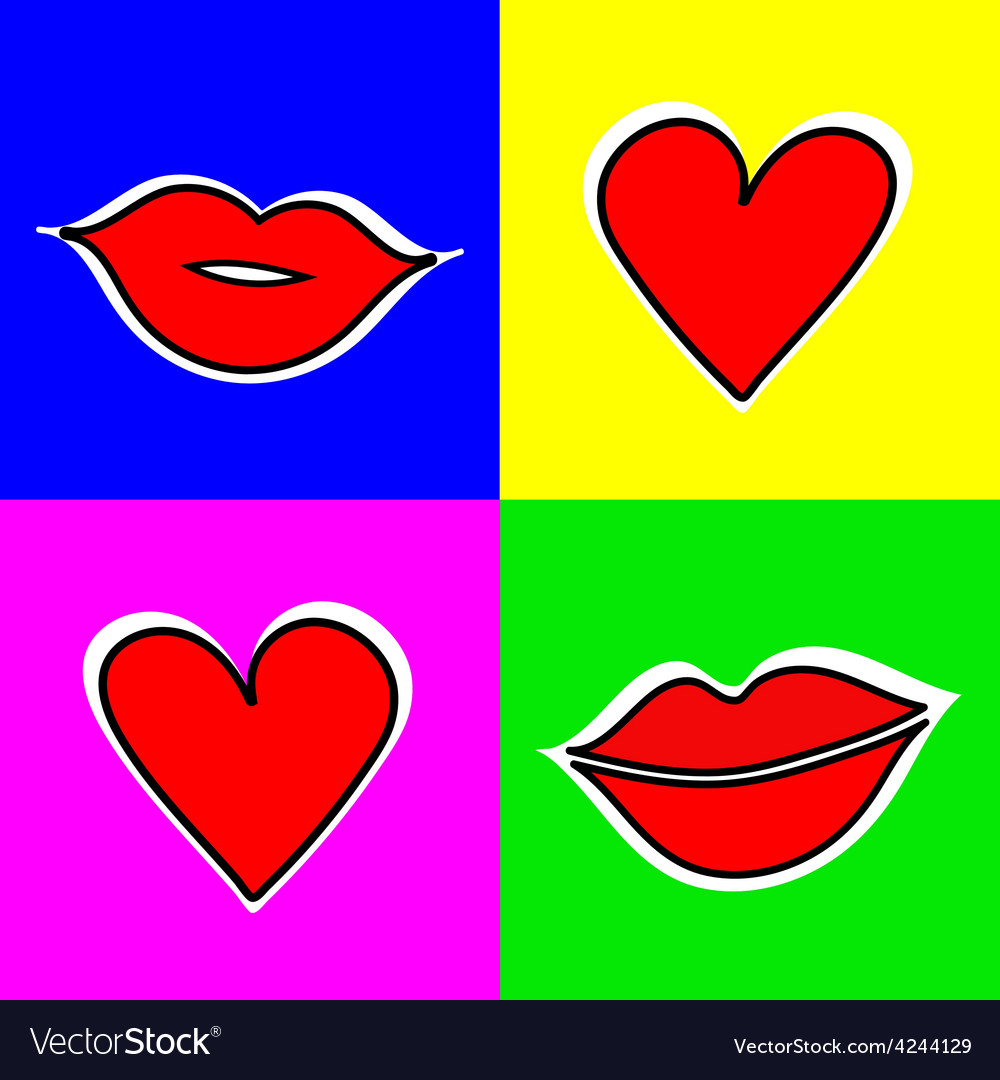 Set of signs with a picture of the lips and vector | Price: 1 Credit (USD $1)