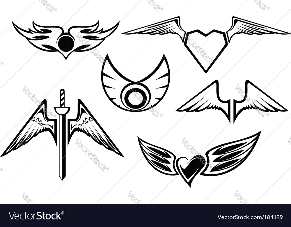 Set of wing symbols vector | Price: 1 Credit (USD $1)