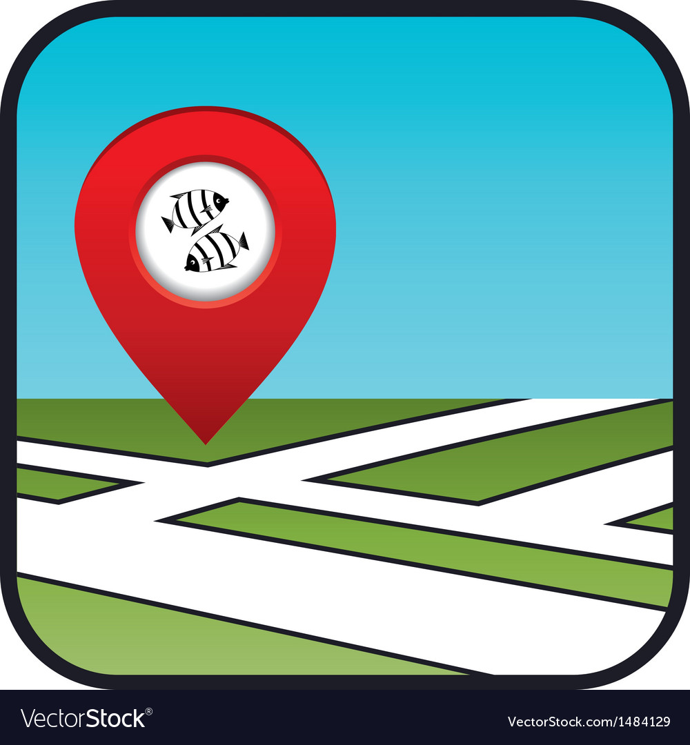 Street map icon with the pointer fish restaurant vector | Price: 1 Credit (USD $1)