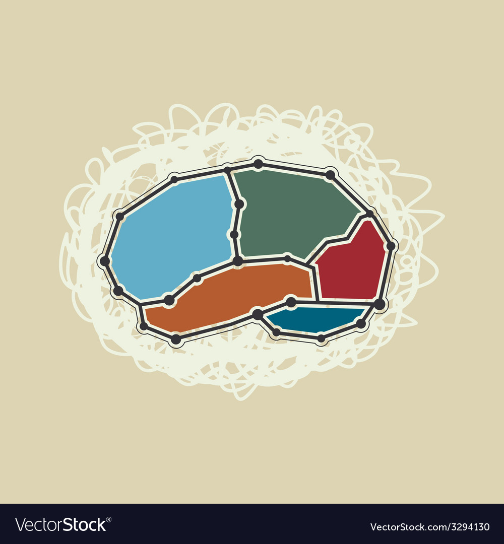 Abstract brain symbol retro style vector | Price: 1 Credit (USD $1)