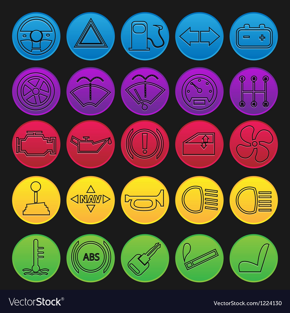 Car dashboard icon set gradient line vector | Price: 1 Credit (USD $1)